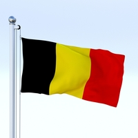 Animated Belgium Flag 3D Model