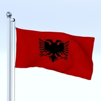 Animated Albania Flag 3D Model
