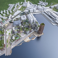 Stockholm Seafront Urban Area 3D Model