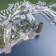 Stockholm Seafront Urban Area 3D Model