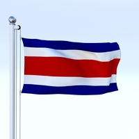 Animated Costa Rica Flag 3D Model