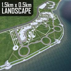 Residence Landscape Urban Beach 3D Model