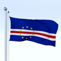 Animated Cape Verde Flag 3D Model