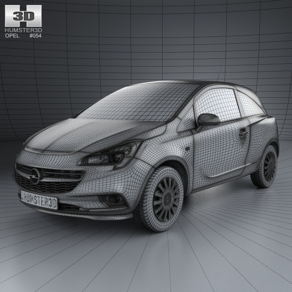 opel corsa e 3 door 2014 3d model. Black Bedroom Furniture Sets. Home Design Ideas