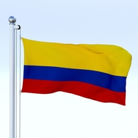 Animated Colombia Flag 3D Model