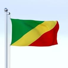 Animated Republic of the Congo Flag 3D Model