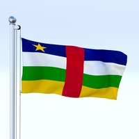 Animated Central African Republic Flag 3D Model