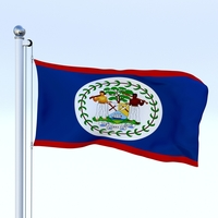 Animated Belize Flag 3D Model