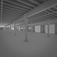Art Deco Industrial Building Interior 3D Model