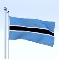 Animated Botswana Flag 3D Model