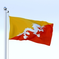 Animated Kingdom of Bhutan Flag 3D Model