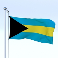 Animated Bahamas Flag 3D Model