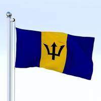 Animated Barbados Flag 3D Model