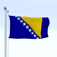 Animated Bosnia and Herzegovina Flag 3D Model
