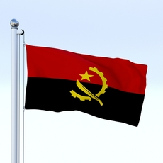 Animated Angola Flag 3D Model