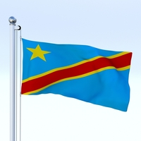 Animated Democratic Republic of Congo Flag 3D Model