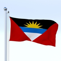 Animated Antigua and Barbuda Flag 3D Model
