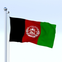 Animated Afghanistan Flag 3D Model