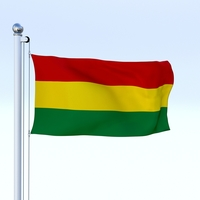 Animated Bolivia Flag 3D Model