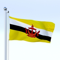 Animated Brunei Darussalam Flag 3D Model