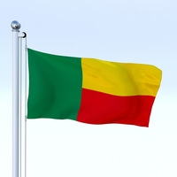 Animated Benin Flag 3D Model