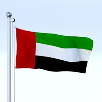 Animated United Arab Emirates Flag 3D Model