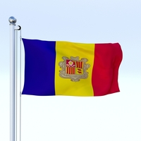 Animated Andorra Flag 3D Model