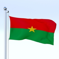 Animated Burkina Faso Flag 3D Model