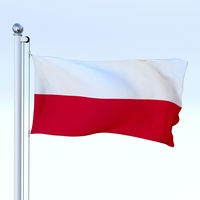 Animated Poland Flag 3D Model