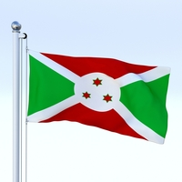 Animated Burundi Flag 3D Model