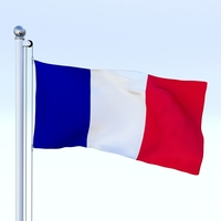 Animated France Flag 3D Model