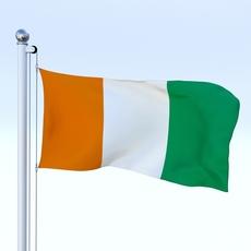Animated Côte d'Ivoire Flag 3D Model