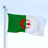 Animated Algeria Flag 3D Model