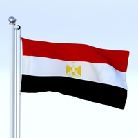 Animated Egypt Flag 3D Model