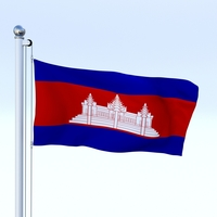 Animated Cambodia Flag 3D Model