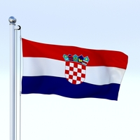 Animated Croatia Flag 3D Model