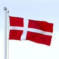 Animated Denmark Flag 3D Model
