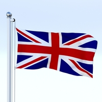 Anmated Great Britain Flag 3D Model