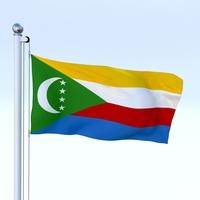 Animated Comoros Flag 3D Model