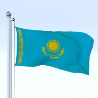 Animated Kazakhstan Flag 3D Model