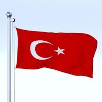 Animated Turkey Flag 3D Model