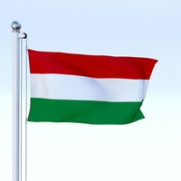 Animated Hungary Flag 3D Model