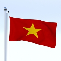 Animated Vietnam Flag 3D Model
