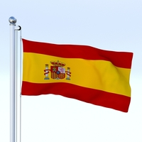 Animated Spain Flag 3D Model