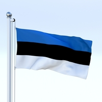 Animated Estonia Flag 3D Model