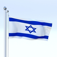 Animated Israel Flag 3D Model