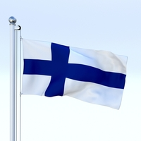 Animated Finland Flag 3D Model