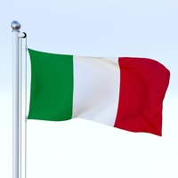 Animated Italy Flag 3D Model