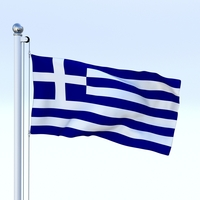 Animated Greece Flag 3D Model