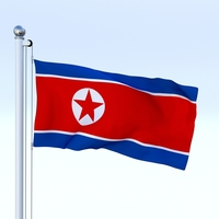 Animated North Korea Flag 3D Model